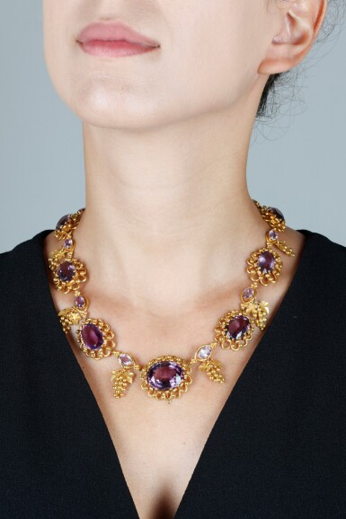 View 5. Thumbnail of Lot 50. AMETHYST AND GOLD NECKLACE, CIRCA 1830.