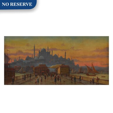 View 1. Thumbnail of Lot 123. Constantinople, a view of the Galata Bridge at sunset.