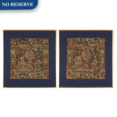 View 1. Thumbnail of Lot 14. 'Susanna and the Elders', a pair of Biblical Old Testament tapestry panels, Northern European, 17th century.