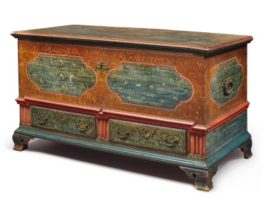 View 4. Thumbnail of Lot 356. Federal Polychrome Paint-Decorated Poplar Blanket Chest with Two Drawers, Lancaster County, Pennsylvania, Circa 1780.