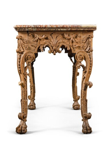 View 3. Thumbnail of Lot 54. A Franco-Flemish carved and stained walnut console table, probably Liège, early 18th century.