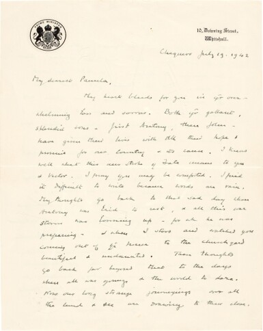 View 1. Thumbnail of Lot 24. Sir Winston Churchill | autograph letter signed, to Pamela, Lady Lytton, 1942.