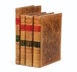 FLEURIEU -- [MARCHAND].Voyage autour du monde. An VI - An VIII. 3 vol in-4 et un Atlas in-4. Veau flammé de l'époque