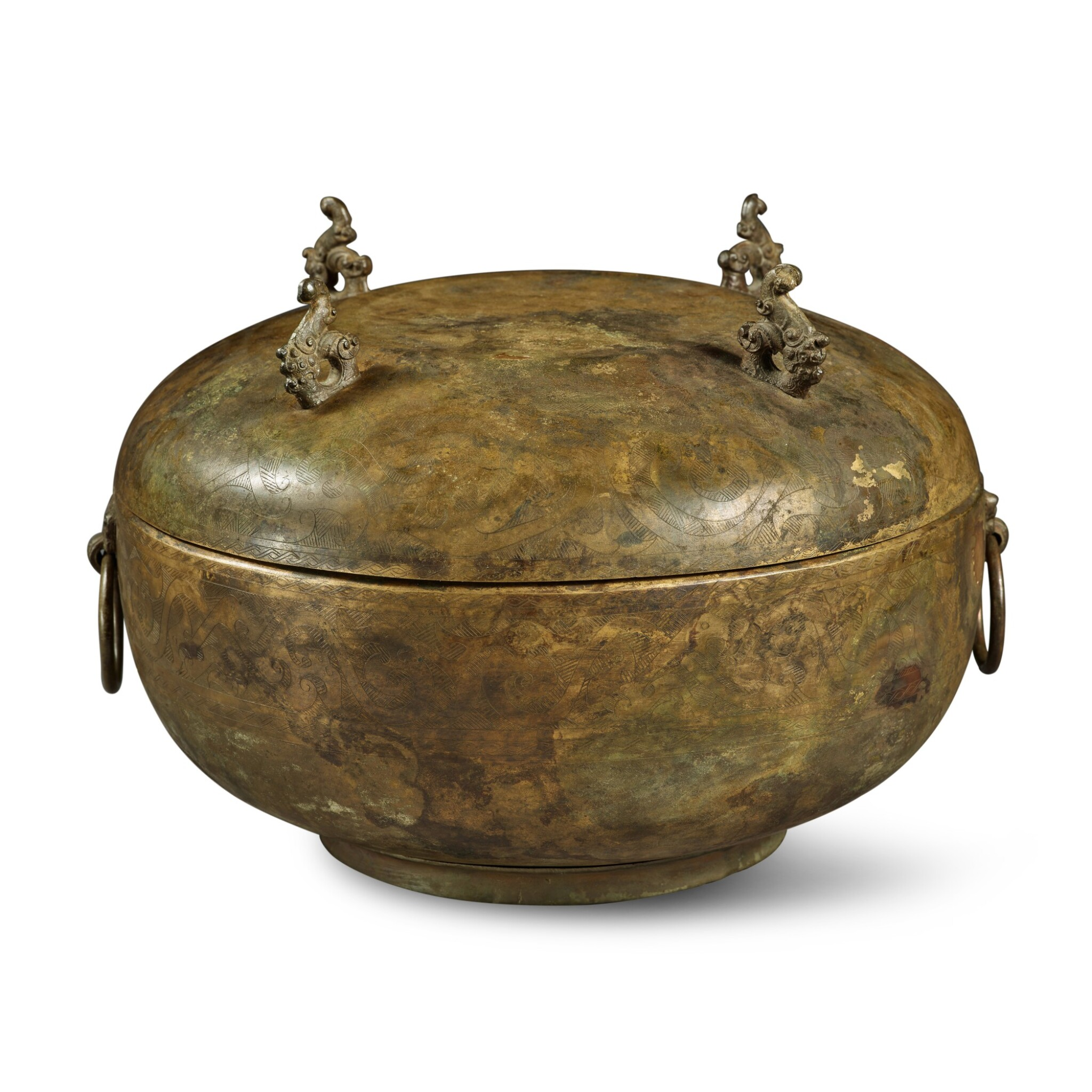 View full screen - View 1 of Lot 102. A bronze vessel and cover (Dui), Eastern Zhou dynasty, Warring States period | 東周 戰國 銅龍紋敦.