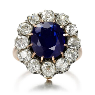 View 1. Thumbnail of Lot 76. Sapphire and diamond ring.