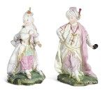 TWO HÖCHST FIGURES OF CHILDREN DRESSED AS A SULTAN AND SULTANA | CIRCA 1770