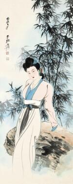 ZHANG DAQIAN 張大千 | LADY BY THE BAMBOO GROVE 新篁仕女
