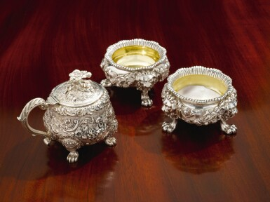 View 2. Thumbnail of Lot 19. A GEORGE IV SILVER MUSTARD POT, PAUL STORR, LONDON, 1825.