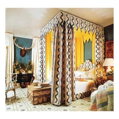 A HEADBOARD, VALANCES AND BEDHANGINGS IN YELLOW-LINED PIERRE FREY TOILE DE NANTES