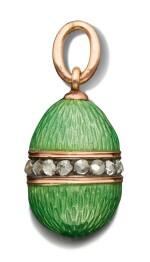 A FABERGÉ JEWELLED GOLD AND GUILLOCHÉ ENAMEL EGG PENDANT, WORKMASTER MICHAEL PERCHIN, ST PETERSBURG, CIRCA 1890