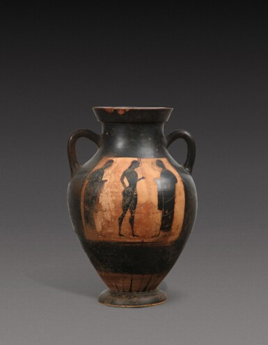 View 2. Thumbnail of Lot 58. An Attic Black-figured Amphora, attributed to the Princeton Group, circa 540-530 B.C..