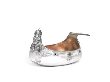 A Fabergé gem-set silver kovsh, Moscow, 1899-1908