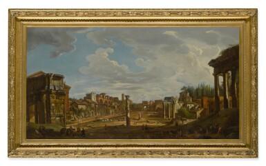 View 2. Thumbnail of Lot 630. ROMAN SCHOOL, 18TH CENTURY   A VIEW OF THE ROMAN FORUM.
