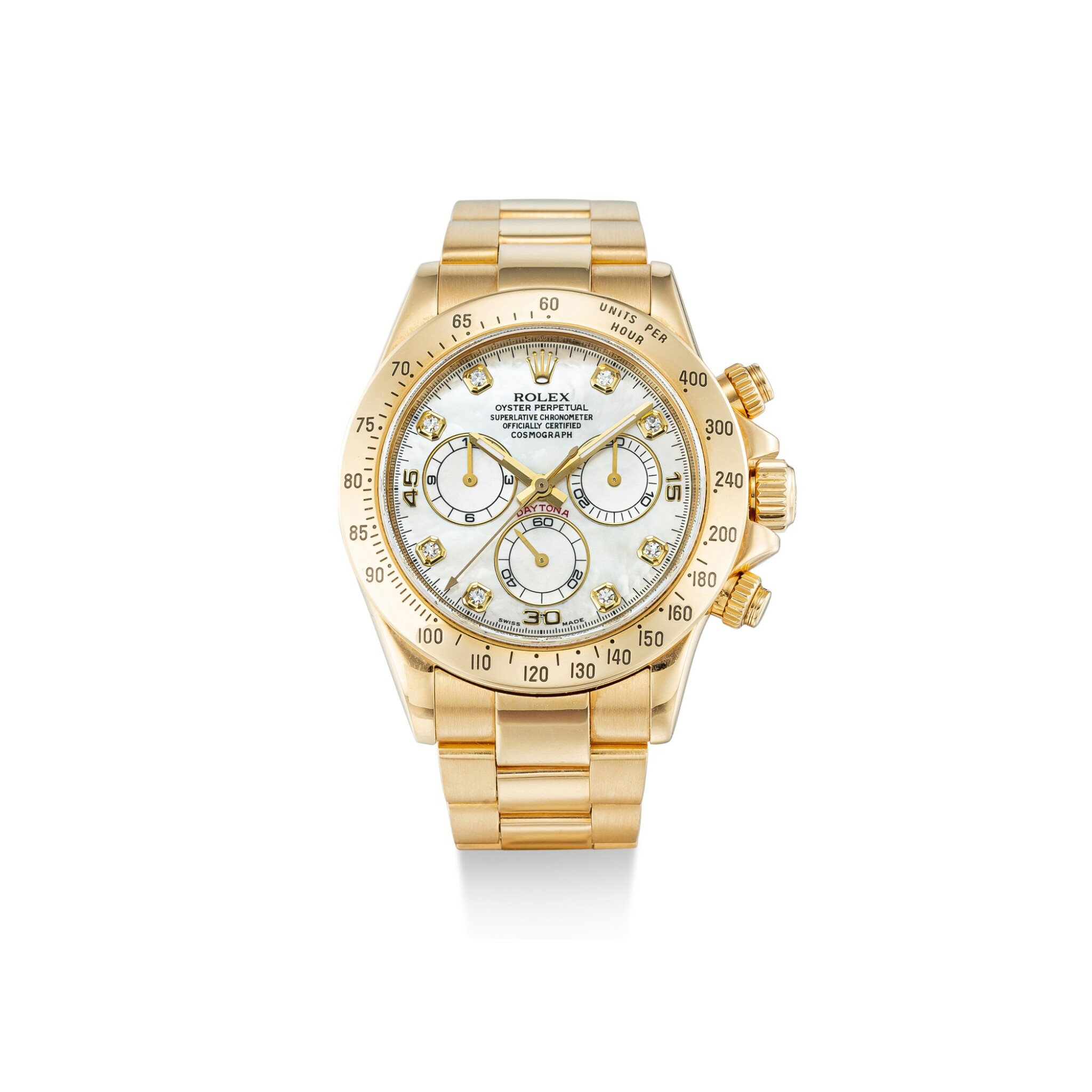 View full screen - View 1 of Lot 104. ROLEX | COSMOGRAPH DAYTONA, REFERENCE 116528, A YELLOW GOLD AND DIAMOND-SET CHRONOGRAPH WRISTWATCH WITH MOTHER-OF-PEARL DIAL AND BRACELET, CIRCA 2010.