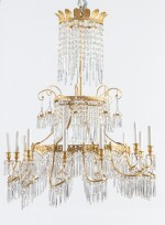 A GERMAN NEOCLASSICAL GILT-BRONZE AND CUT-CRYSTAL CHANDELIER ATTRIBUTED TO WERNER & MIETH, BERLIN, CIRCA 1810-1820 | IMPORTANT LUSTRE EN BRONZE DORÉ ET CRISTAL TAILLÉ, BERLIN, VERS 1810-1820, ATTRIBUÉ À LA MANUFACTURE WERNER & MIETH