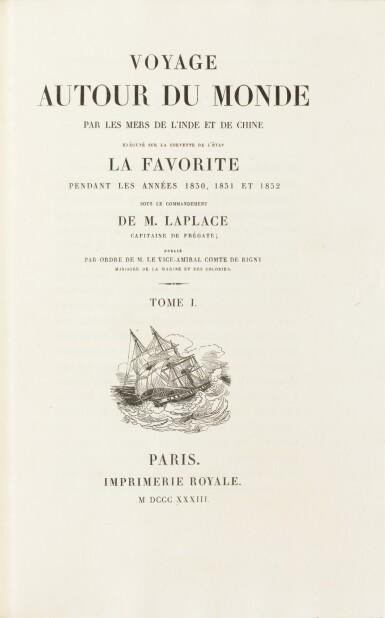 View 3. Thumbnail of Lot 215. LAPLACE. Voyage autour du monde de l'Inde et de Chine. 1833-1840. 7 volumes, dont 2 atlas et Zoologie..
