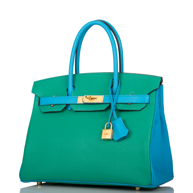 View 4. Thumbnail of Lot 92. HERMÈS    HORSESHOE STAMP (HSS) BICOLOR MENTHE AND BLEU AZTEC BIRKIN 30CM OF CHEVRE LEATHER WITH BRUSHED GOLD HARDWARE.