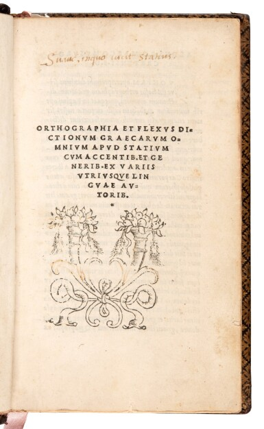 View 2. Thumbnail of Lot 240. Statius, [Opera], Venice, Aldus, 1502, navy morocco gilt, Renouard's copy.