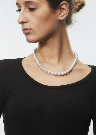 View 4. Thumbnail of Lot 1015. CULTURED PEARL AND DIAMOND NECKLACE.