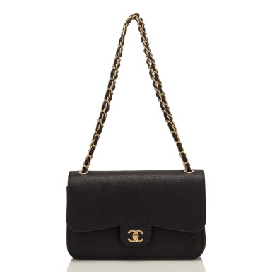 """View 6. Thumbnail of Lot 62.  Chanel """"Pure"""" Jumbo Double Flap Bag of Black Caviar Leather with Gold Tone Hardware."""