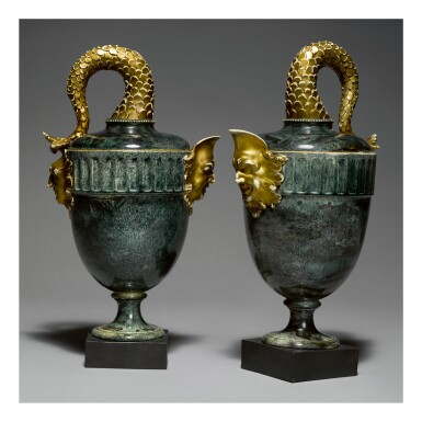 A PAIR OF WEDGWOOD AND BENTLEY 'PORPHYRY' 'FISH TAIL' EWER VASES CIRCA 1775