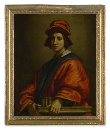 View 2. Thumbnail of Lot 601. FRANCESCO CURRADI | PORTRAIT OF A YOUNG MAN, POSSIBLY AN ARCHITECT, HALF LENGTH, WEARING A RED HAT AND ROBE.