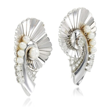 View 2. Thumbnail of Lot 160. Pair of pearl and diamond brooches.