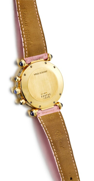 View 3. Thumbnail of Lot 176. CHOPARD   IMPERIALE, A YELLOW GOLD, DIAMOND AND SAPPHIRE-SET CHRONOGRAPH WRISTWATCH, CIRCA 2000.