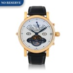 CESAR AUGUSTE PINK GOLD TOURBILLON WRISTWATCH WITH DAY, DATE, DAY/NIGHT INDICATION,12 HOUR INDICIATION AND ENAMEL DIAL CIRCA 2005