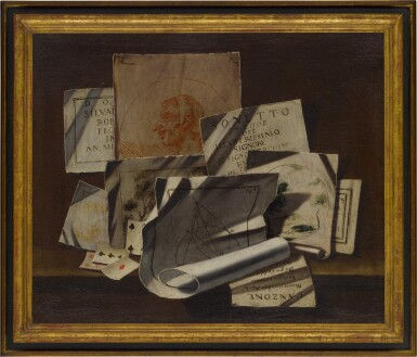 View 5. Thumbnail of Lot 96. A pair of trompe-l'œil still lifes with portrait and landscape sketches, sonnets, mathematical sketches.