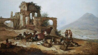 View 1. Thumbnail of Lot 245. JACOB SIBRANDI MANCADAN   SHEPHERDS WITH LIVESTOCK BY CLASSICAL RUINS IN AN EXTENSIVE LANDSCAPE, WITH A YOUTH PLAYING A PIPE IN THE FOREGROUND.