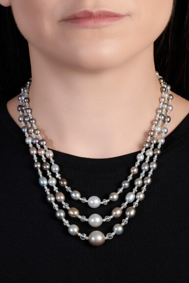 View 4. Thumbnail of Lot 126. Natural pearl, diamond and ruby sautoir/necklace combination | 天然珍珠配鑽石及紅寶石長項鏈/項鏈組合.