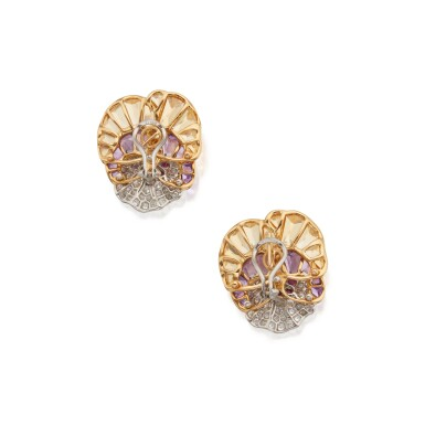 View 3. Thumbnail of Lot 38. Pair of Gem-Set and Diamond Earclips.