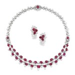 Harry Winston | Ruby and Diamond Necklace and Pair of Earclips