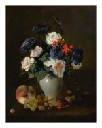 ANTOINE VOLLON   ASSORTED FLOWERS IN A VASE WITH GRAPES AND A PEACH ON A TABLE