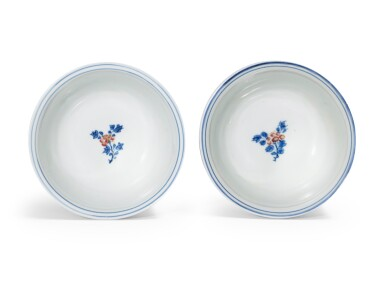 View 3. Thumbnail of Lot 62. A pair of blue and white and underglaze red 'floral' bowls Qing dynasty, Kangxi period | 清康熙 青花釉裏紅花卉紋盌一對.