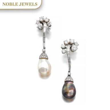 View 1. Thumbnail of Lot 660. Bulgari | Pair of natural pearl and diamond pendent ear clips, circa 1957 | 寶格麗 | 天然珍珠配鑽石耳墜一對,約1957年.