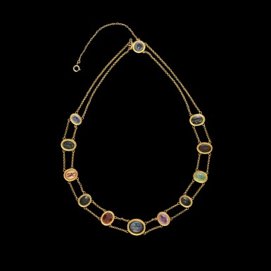 View 1. Thumbnail of Lot 113. A Gold Necklace with Twelve Roman Intaglios, 1st/2nd century A.D..