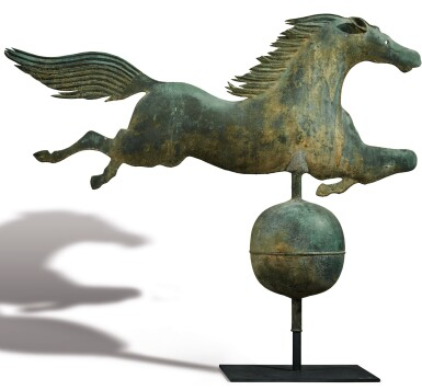 View 1. Thumbnail of Lot 1433.  EXCEPTIONAL MOLDED COPPER LEAPING HORSE WEATHERVANE, BOSTON, MASSACHUSETTS, CIRCA 1860.