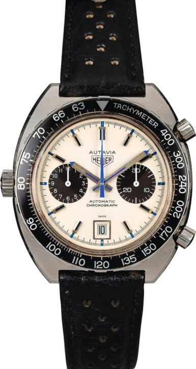 View 2. Thumbnail of Lot 18. HEUER | Autavia, Ref. 1163, A Stainless Steel Chronograph Wristwatch, Circa early 1970s.
