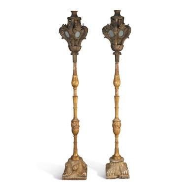 A PAIR OF VENETIAN GILT METAL HALL LANTERNS, 19TH CENTURY, INCORPORATING OLDER ELEMENTS