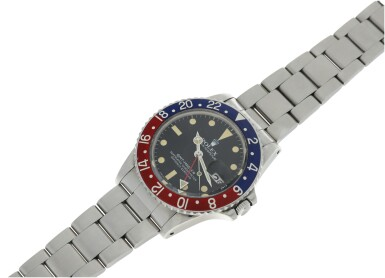 View 4. Thumbnail of Lot 109. ROLEX   REFERENCE 16750 GMT-MASTER 'PEPSI' A STAINLESS STEEL AUTOMATIC DUAL TIME WRISTWATCH WITH DATE AND BRACELET, CIRCA 1980.