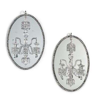 View 1. Thumbnail of Lot 51. A pair of Irish George III mirror chandeliers, circa 1790, in the manner of John Dederek Ayckboum.