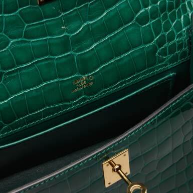 View 8. Thumbnail of Lot 71. Cactus Kelly Pochette in Shiny Alligator Mississippiensis with Gold Hardware, 2012.