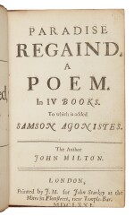 MILTON, JOHN | Paradise Regain'd. A Poem. In IV Books. To which is added Samson Agonistes. London: Printed J.M. for John Starkey, 1671