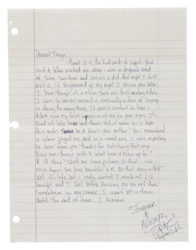 View 2. Thumbnail of Lot 90. TUPAC SHAKUR | AUTOGRAPH LETTER SIGNED, NEW YORK, 1995..