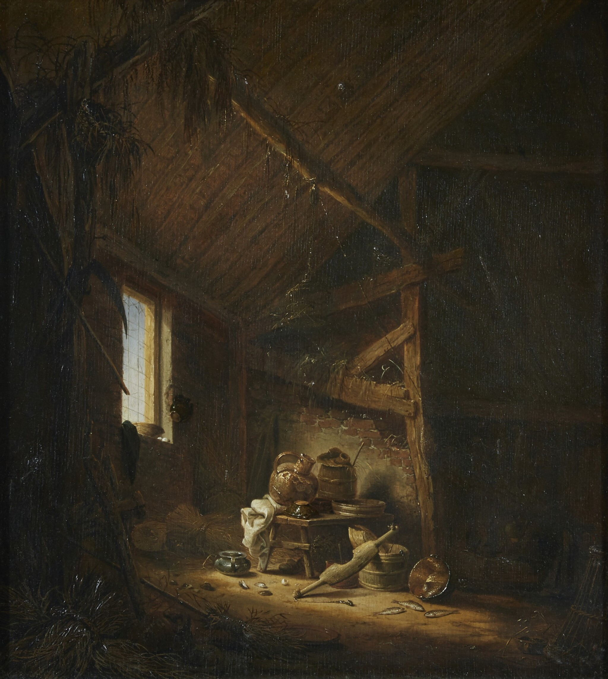View full screen - View 1 of Lot 276. HERMAN SAFTLEVEN | A BARN INTERIOR WITH LIGHT STREAMING THROUGH A WINDOW.