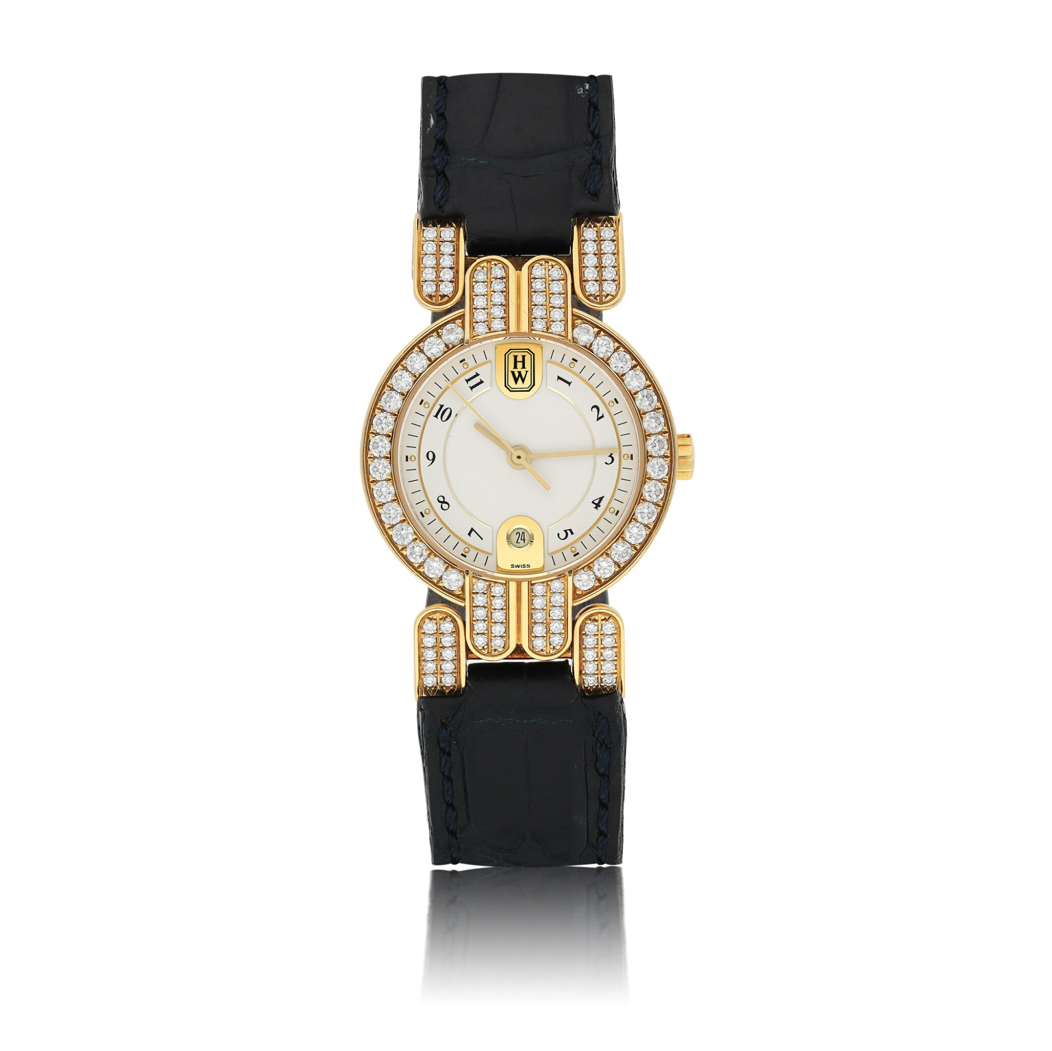 View full screen - View 1 of Lot 77. HARRY WINSTON   EXCENTER, A YELLOW GOLD AND DIAMOND SET CENTER SECONDS WRISTWATCH WITH DATE CIRCA 2005.