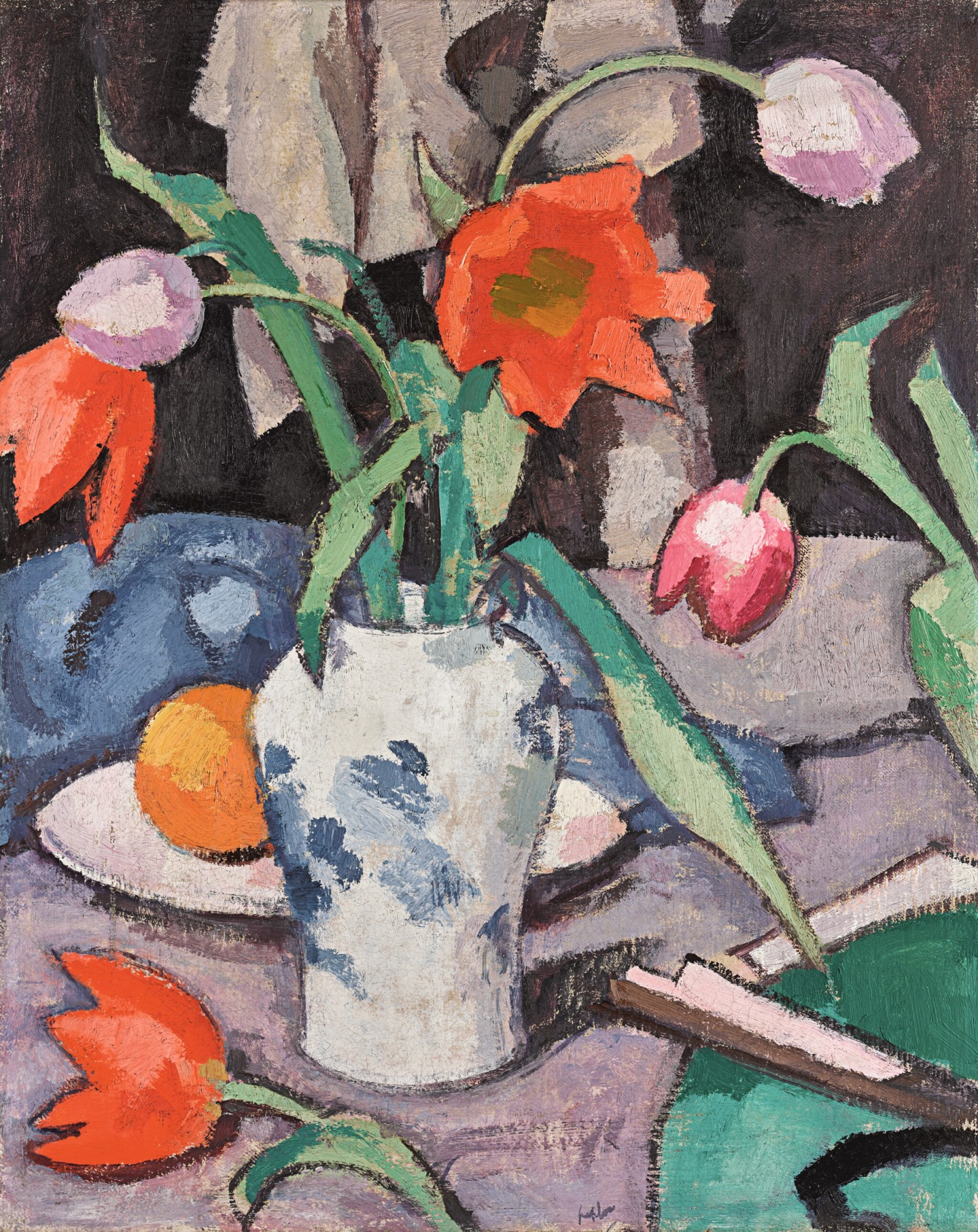 View full screen - View 1 of Lot 30. SAMUEL JOHN PEPLOE, R.S.A.  |  STILL LIFE WITH TULIPS AND FAN.