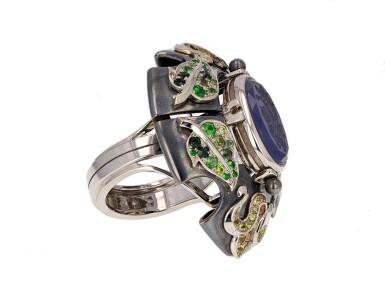 View 3. Thumbnail of Lot 8. Elie Top, Gem-Set, Diamond And Chalcedony Ring [Bague Diamants, Pierres De Couleur Et Calcédoine], 'Air De Printemps'.